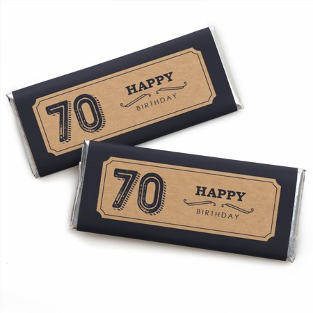 70th Milestone Birthday - Candy Bar Wrappers Party Favors - Set of 24 - 70th Birthday Theme