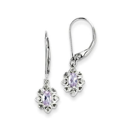 925 Sterling Silver Amethyst, Pink Quartz & Diamond Heart Border Dangle Earrings 0.03cttw