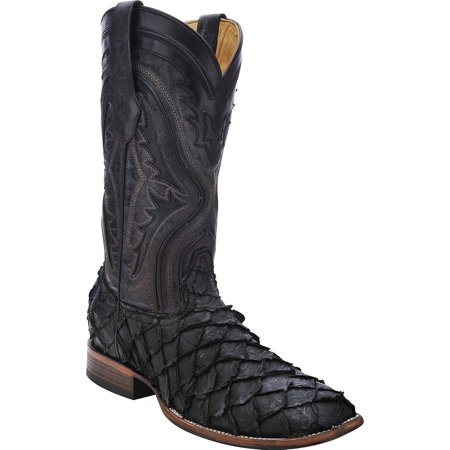 - CORRAL Men's Pirarucu Fish Cowboy Boot Square Toe Black 9.5 D(M) US
