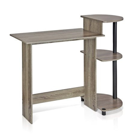 Furinno Compact Computer Desk with Shelves, French Oak Grey/Black, 11181GYW/BK ()