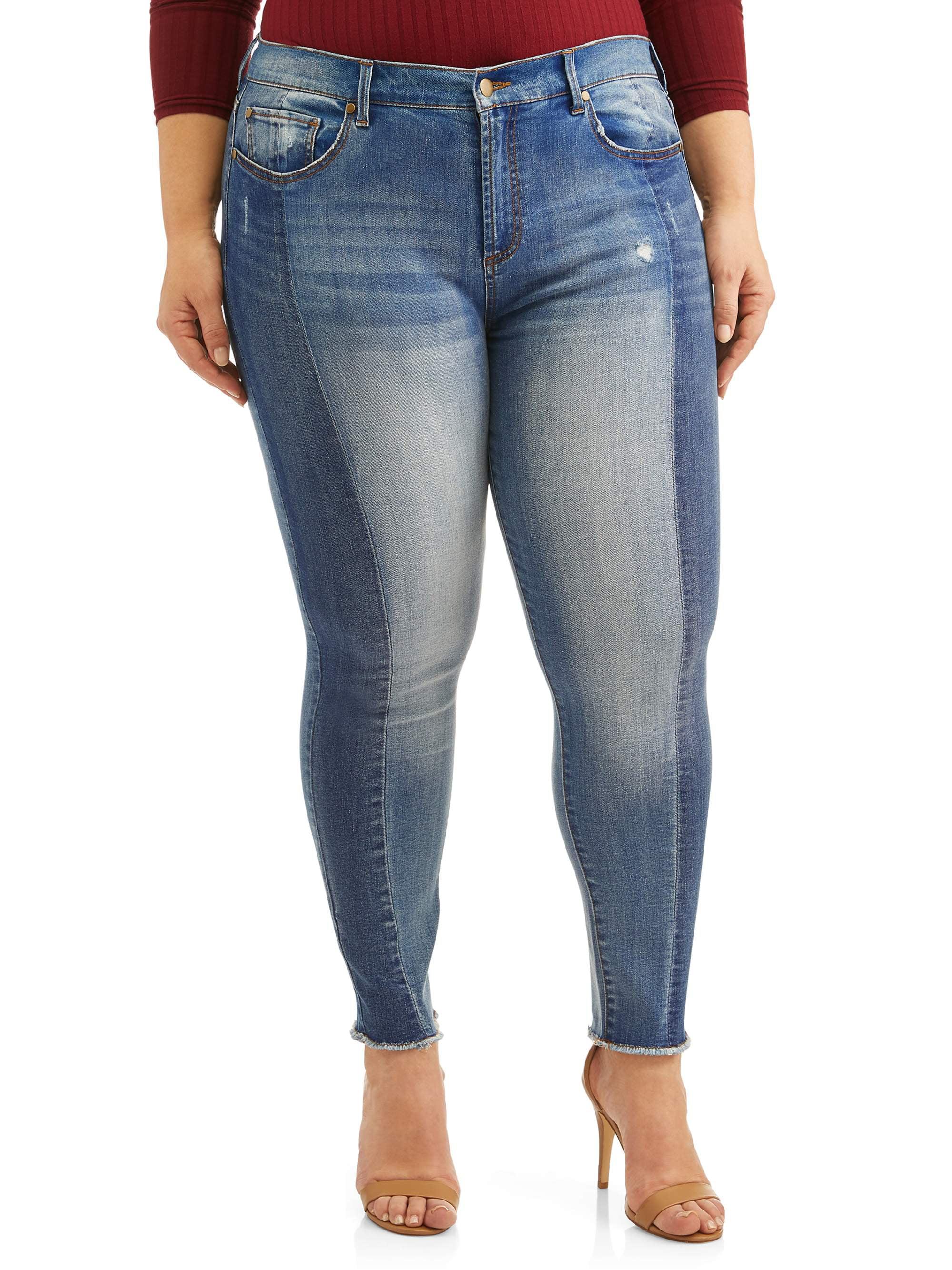Women's Plus Size Cropped 2 Tone Jean with Fray Hem