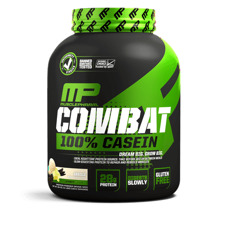MusclePharm Combat Sport 100% Casein, Vanilla, 24g Protein, 4