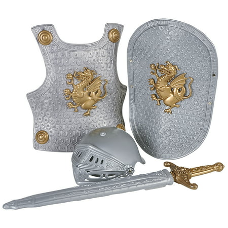 Knight Sword Armor 4pc Child Costume Accessory Set, Silver Gold](Toy Knight Swords)