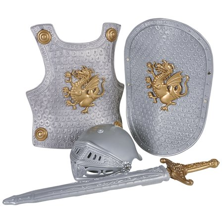 Knight Sword Armor 4pc Child Costume Accessory Set, Silver - Plastic Swords For Kids