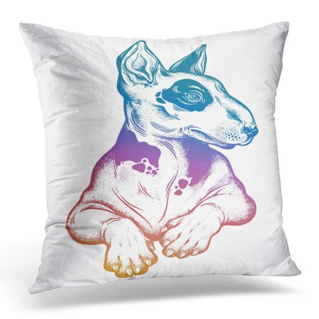 CMFUN Vintage Beautiful Gothic Bull Terrier Portrait Decorated in Traditional Flash Tyle Dotwork Character Pillows case 18x18 Inches Home Decor Sofa Cushion Cover