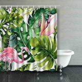 Palm Shower Curtain (ARTJIA Tropical Isolated Flamingo Watercolor Tropic Drawing Rose Bird Greenery Palm Tree Tropic Green Texture Exotic Shower Curtain Polyester Bathroom Curtain 60x72)