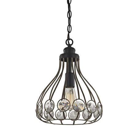 Crystal Web 1 Light Penant In Bronze Gold And Matte Black With Clear Crystal - Includes Recessed Lighting Kit - image 1 de 1