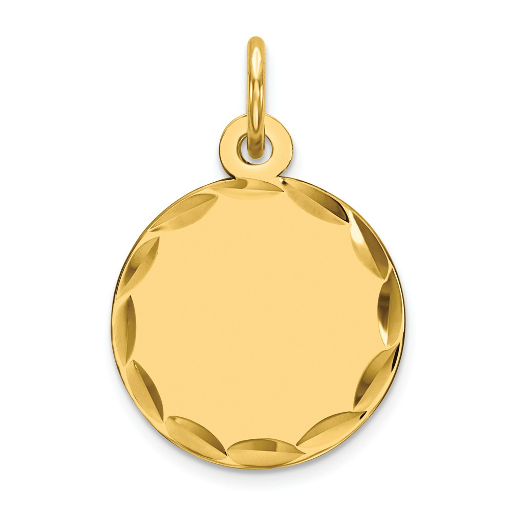 925 Sterling Silver Yellow Gold-Plated Engravable Round Disc Charm Pendant 20mm x 13mm