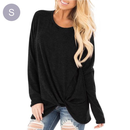 Autumn and Winter Style Women's Wear Hem Knot Round Neck Solid Color Long Sleeve Casual Top