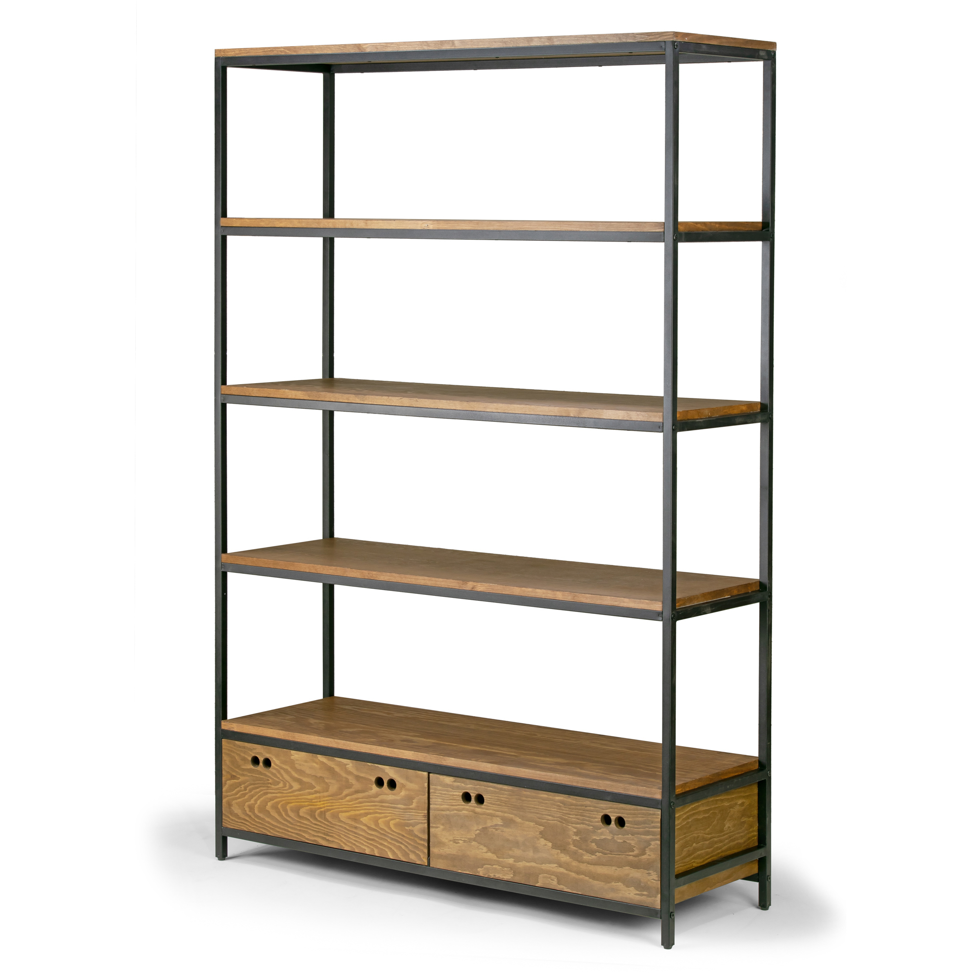 Alta Brown Pine Wood Display Shelf Etagere Metal Frame Bookcase with Drawers
