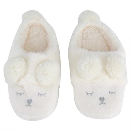Walfront Winter Warm Casual Shoes Cute Cartoon Soft Indoor