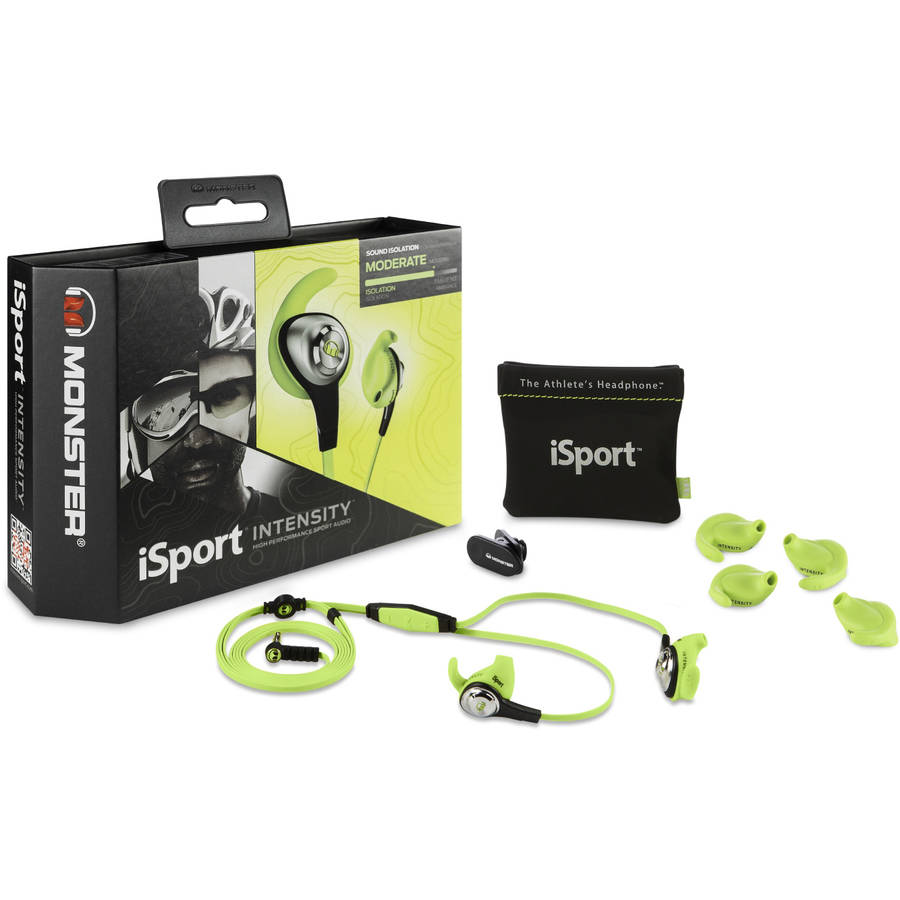 Monster iSport Intensity In-Ear Headphones with 3-Button ControlTalk, Green