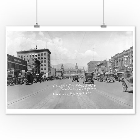 Colorado Springs, CO - Pikes Peak Avenue Panoramic View of Antlers Hotel and Pikes Peak (9x12 Art Print, Wall Decor Travel Poster) (Antler Peak)