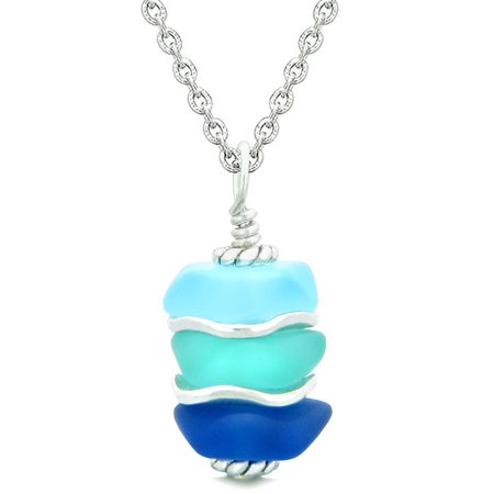 Sea Glass Icy Frosted Waves Aqua Sky and Ocean Blue Positive Powers Amulet Pendant 18 Inch Necklace