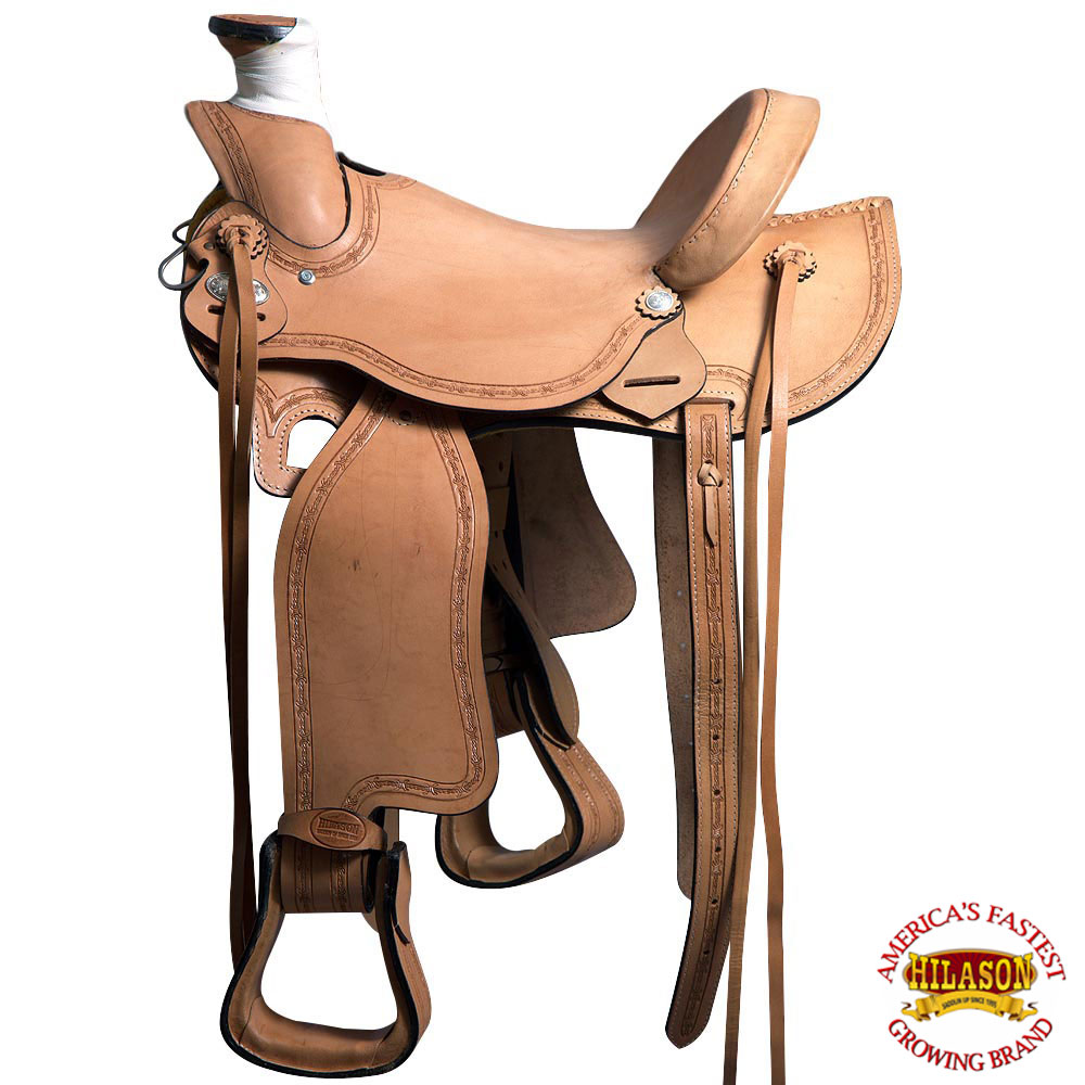 "16"" HILASON LIGHT WEIGHT HORSE LEATHER SADDLE ROPING WADE WESTERN TRAIL PLEASURE by"