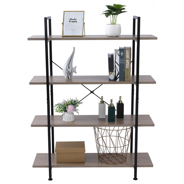 Pcmos 4-Tier Widened Bookcase Bookshelf with Foot Pad, Living Room