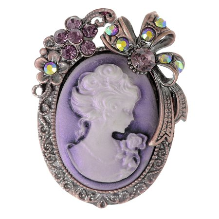 - Feinuhan Vintage Inspired Rhinestone Victorian Lady Cameo Brooch Pin Flower Ribbon Bow Pendant Lavender Purple