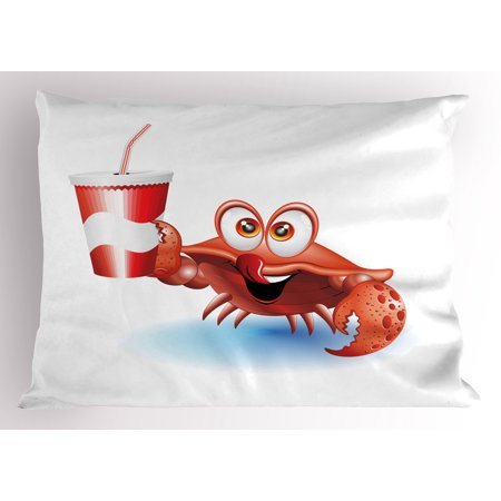 Crabs Pillow Sham Thirsty Marine Animal with Drink on a Paper Cup with Straw Summertime Theme, Decorative Standard Queen Size Printed Pillowcase, 30 X 20 Inches, Vermilion White Blue, by Ambesonne