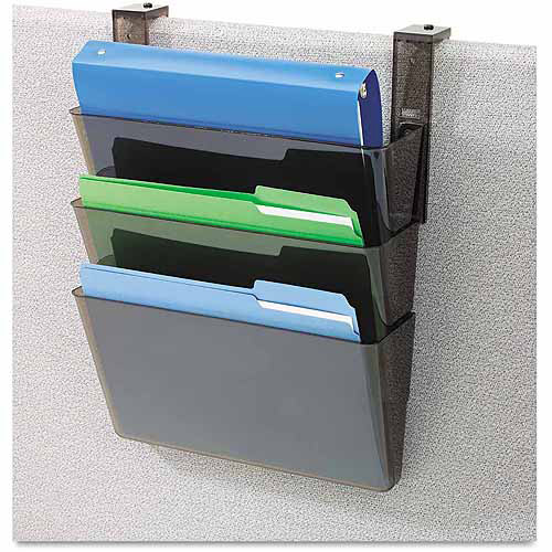 deflect-o Three-Pocket File Partition Set with Brackets, Letter, Smoke