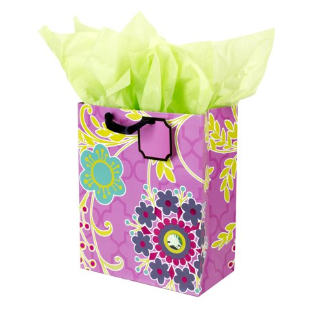 Hallmark, Large Gift Bag with Tissue Paper, Purple Flowers - Large Paper Bags