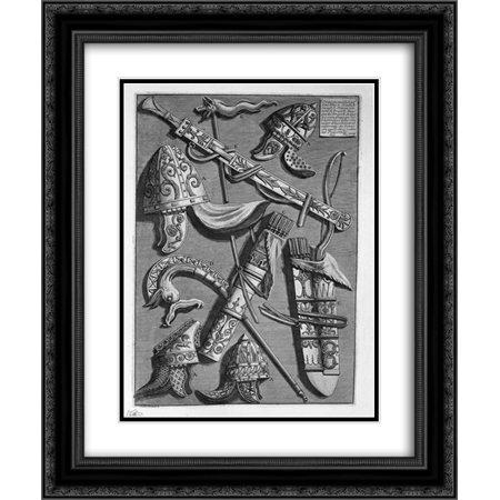 Giovanni Battista Piranesi 2x Matted 20x24 Black Ornate Framed Art Print 'Helmets, dagger, quivers, poker, signs (from the pedestal of the Column of Trajan)'