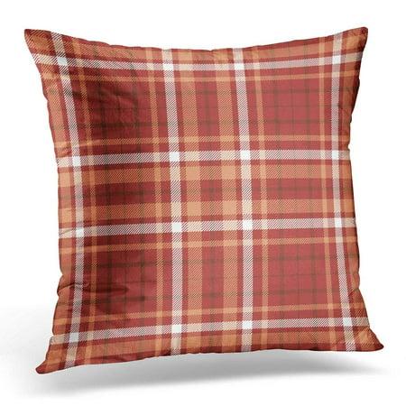 CMFUN Checkered Tartan Plaid Pattern Design in Pale Orange White Brown Stripes on Dark Red Bandana Throw Pillow Case Pillow Cover Sofa Home Decor 16x16 Inches ()