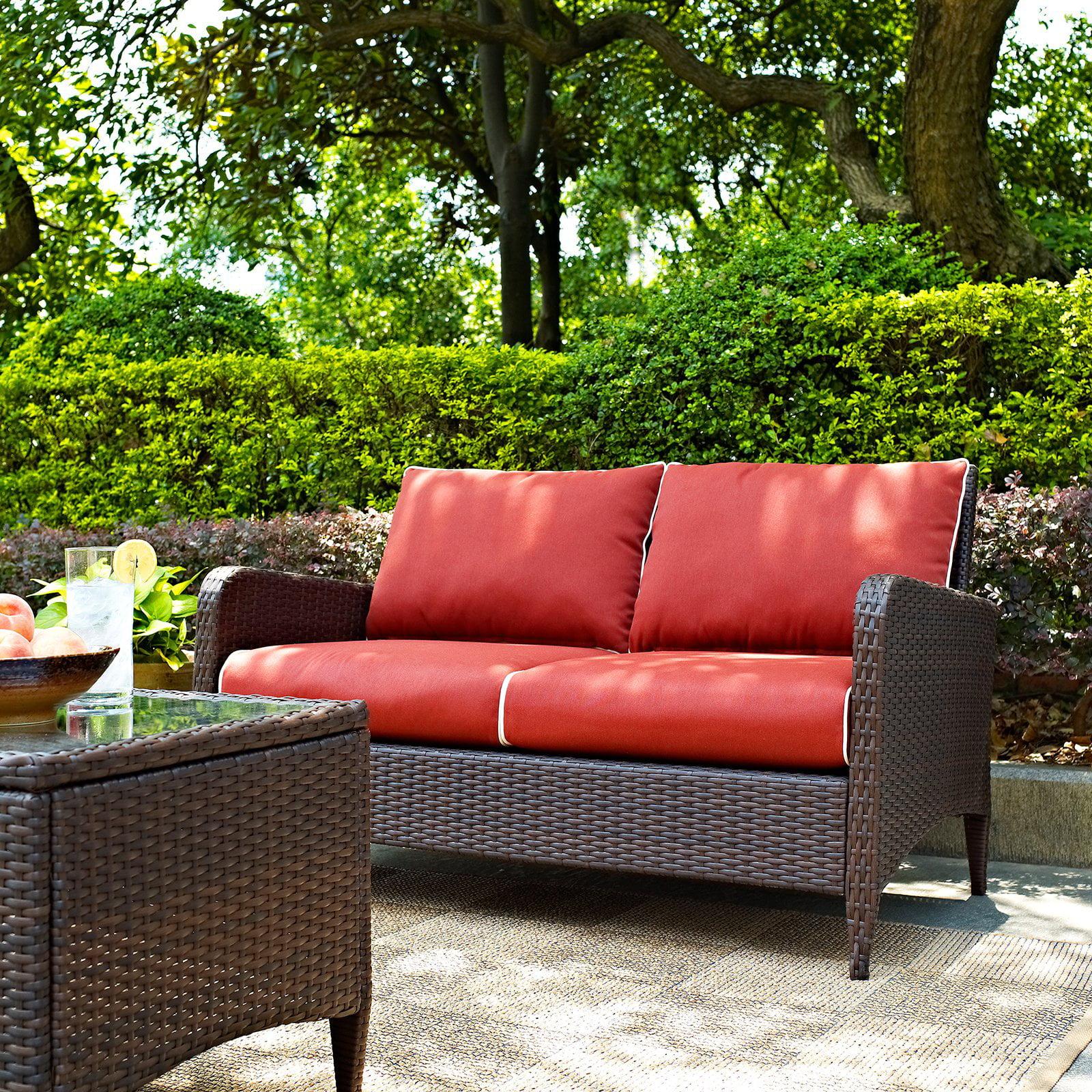 Crosley Furniture Kiawah Outdoor Wicker Loveseat with Sangria Cushions