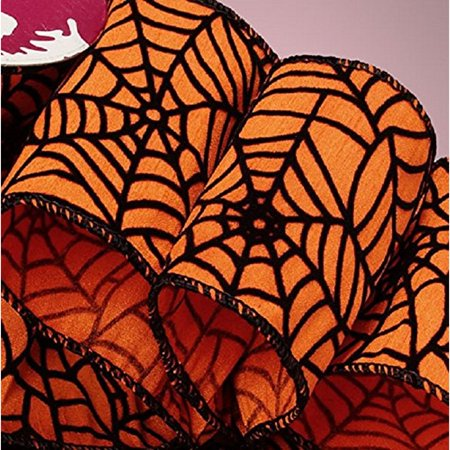 Orange and Black Spider Web Wired Halloween Ribbon - 2 1/2 Inches Wide X 10 - Decorating Ideas For Halloween In The Yard