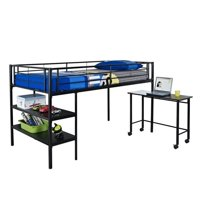 Pemberly Row Twin Loft Bed with Desk and Shelves in Black