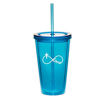 16oz Double Wall Acrylic Tumbler Cup With Straw Infinity Love Cross Christian (Light-Blue) - Photo Acrylic Tumbler With Straw
