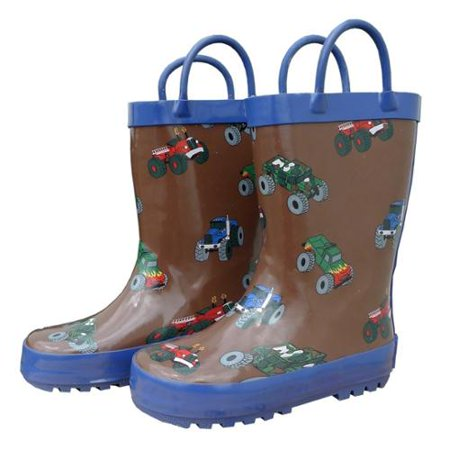 Foxfire for Kids 600-60 Brown Rubber Boot with Blue Trim and Monster Truck - Monster Boots