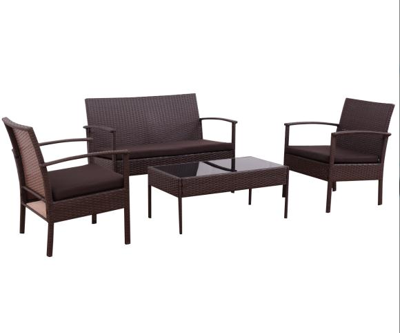 Gymax Patio Garden 4PC Rattan Wicker Furniture Set by Gymax