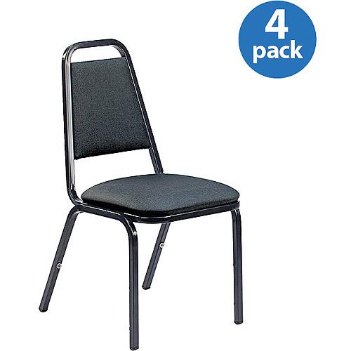 Set of 4, Virco Vinyl Upholstered Stacking Chair, Black