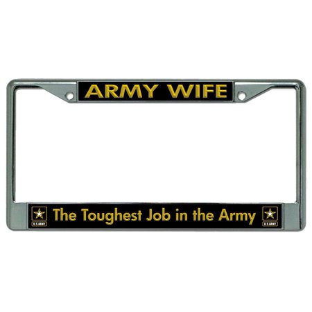 Army Wife Chrome License Plate Frame