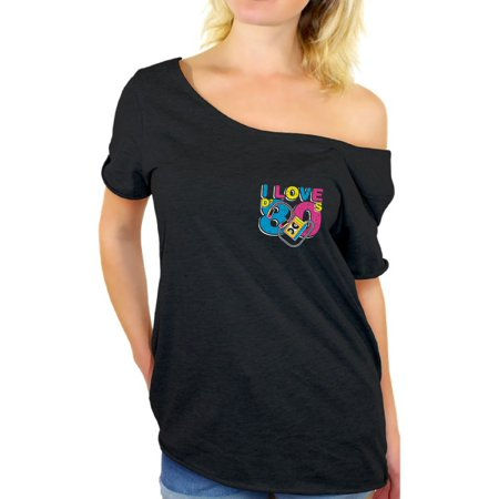 Awkward Styles I Love D' 80s Tshirt Off Shoulder 80s Pocket Shirts for Women 80s Tops I Love the 80's Baggy Shirts 80s Clothes for 80s Party 80s Disco Outfit for Women Retro Vintage Off Shoulder Top - Seventies Disco Clothing