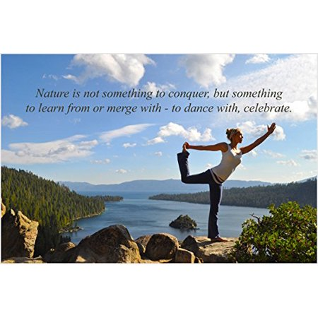 yoga woman pose on mountain inspirational poster puffy