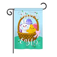 "Angeleno Heritage G135155-BO Happy Easter Basket Spring Impressions Decorative Vertical 13"" x 18.5"" Double Sided Garden Flag"