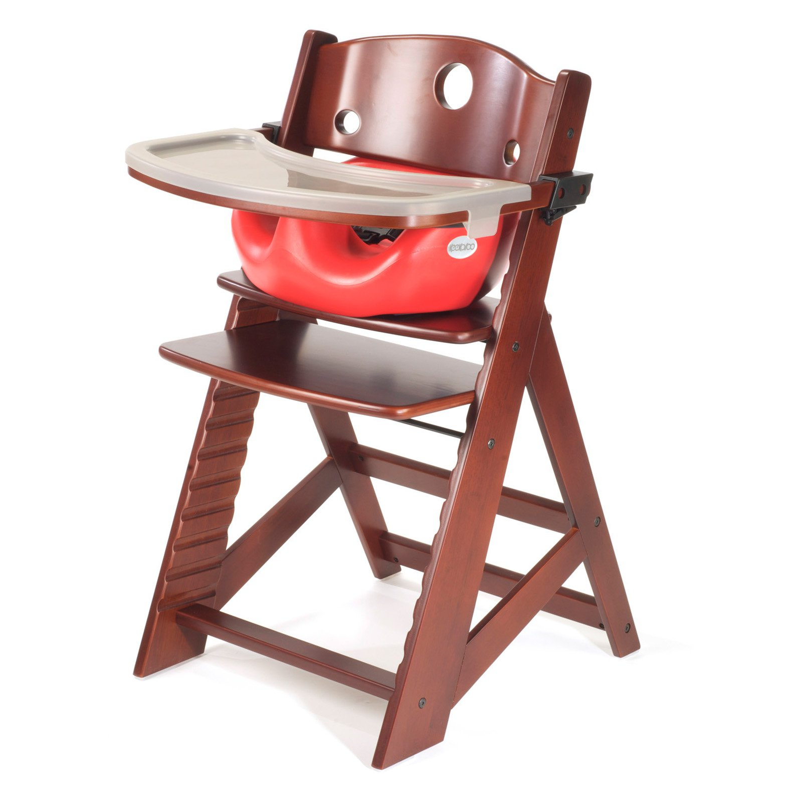 Keekaroo Height Right High Chair Mahogany with Cherry Infant Insert and Tray by Keekaroo
