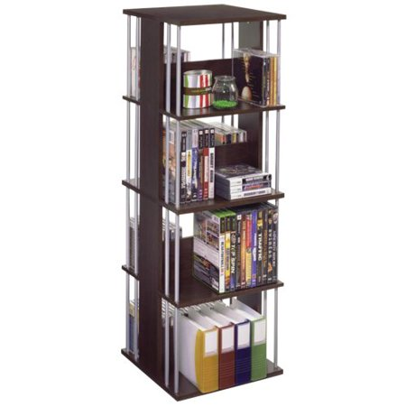 Atlantic Typhoon Multimedia Storage Tower – 35.8″ x 11.9″ x 11.9″ – Pocket(s)216 x CD, 114 x DVD – 8 Compartment – Steel – Espresso, Silver Rod