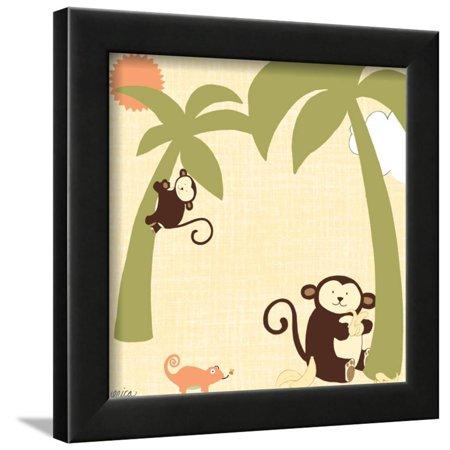 9' Black Jungle (Baby Jungle II Framed Print Wall Art By June Vess)