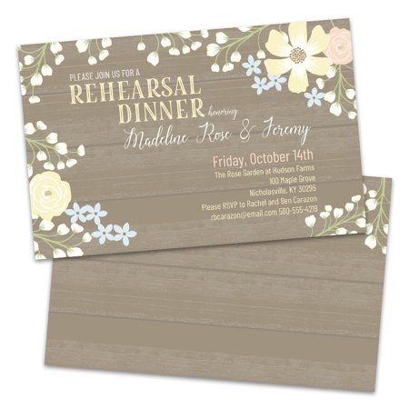 Floral Woodgrain Personalized Rehearsal Dinner Invitations