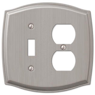 1 toggle switch 1 duplex outlet wall plate cover brushed nickel. Black Bedroom Furniture Sets. Home Design Ideas