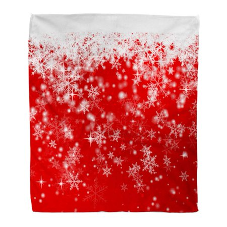 JSDART Throw Blanket 58x80 Inches Silver Abstract Snowflakes on Red Beautiful Beauty Warm Flannel Soft Blanket for Couch Sofa Bed - image 1 of 1