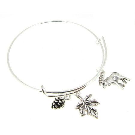 Maple Leaf Bracelet (Bangle Bracelet Silver  Expandable Canada Maple leaf Moose Acorn )