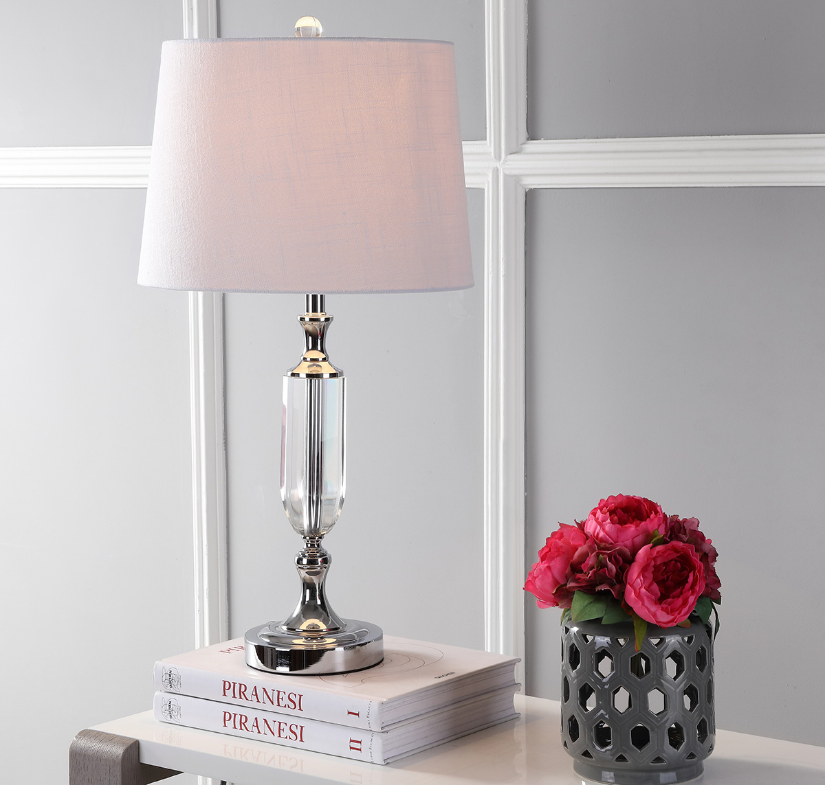 "Bella 27"" Crystal LED Table Lamp, Clear"