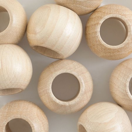John Bead Euro Wood Beads - Natural, Round Large Hole, 20 mm x 16 mm, Pkg of 9