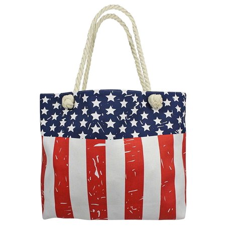 Luxury Divas American Flag Print Oversize Canvas Beach Tote Bag ...