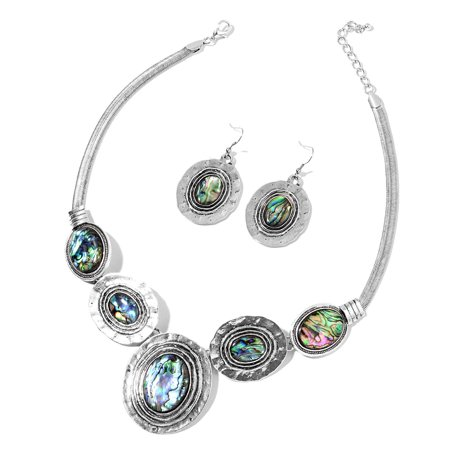 "Womens Abalone Shell Silvertone Hammered Dangle Drop Earrings Necklace Pendant 18""(Multi-Color/Multi-Color1)"