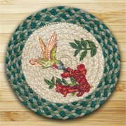 earth rugs 80-365hb round miniature swatch, hummingbird, printed
