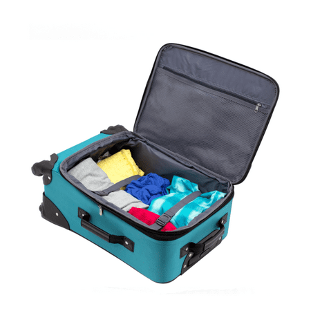 Protege 2 piece expandable spinner carry on and checked luggage set Teal (Walmart Exclusive)